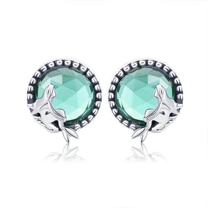 Collection Romantic 925 Sterling Silver Fairy Story Light Green CZ Stud Earrings Women Jewelry