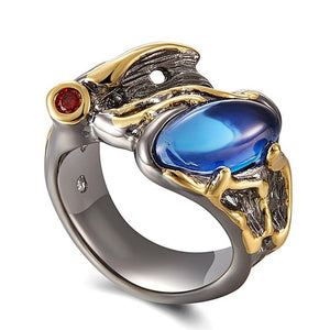 Horse Eye Shape Ring For Women With Blue Zirconia Stone