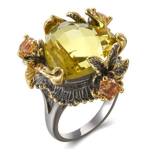 Women's Ring Genuine Radian Cut Golden Color Zirconia Ring