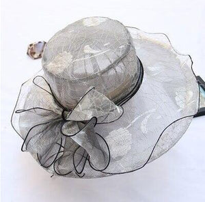 Elegant Lady Hat With Silk Lace Flower Bow - GiftWorldStyle - Luxury Jewelry and Accessories