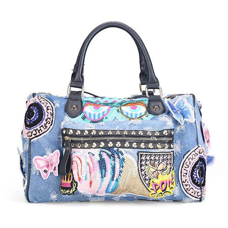 Women Denim Bag With Cute Cartoon Daypack