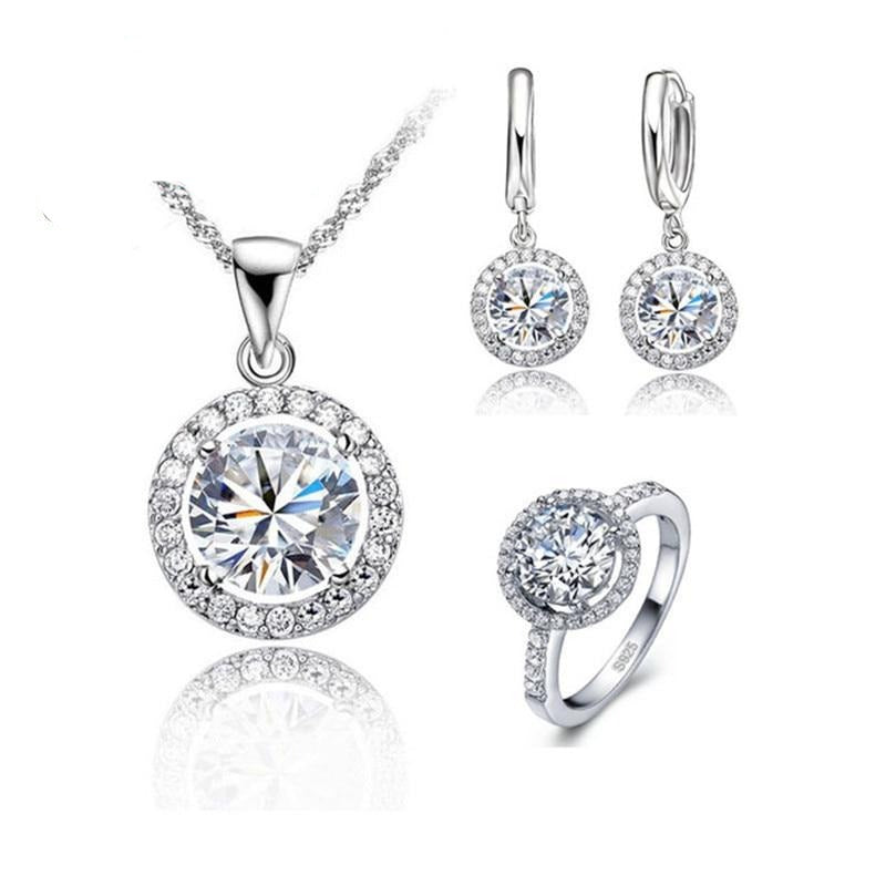 Zircon Crystal Wedding Jewelry Set - 925 Sterling Silver - GiftWorldStyle - Luxury Jewelry and Accessories