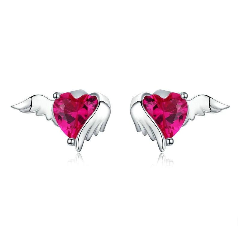 Red Heart Guardian Wing Stud Earrings - 925 Sterling Silver