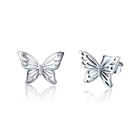 Butterfly Insect Stud Earrings - 925 Sterling Silver