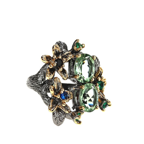 Stunning Vintage Flower Ring With Zircon - GiftWorldStyle - Luxury Jewelry and Accessories