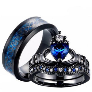 Couple Rings Stainless Steel Rock Crystal Men's Band Filled Ring Heart Women's Wedding Ring Sets