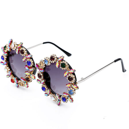 Round Crystal Sunglasses Women Diamond Metal Frame Sun Glasses Female UV400