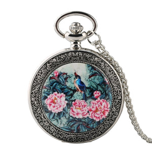 Silver Quartz Pocket Watch With Vivid Bird On the Tree,Flowers - GiftWorldStyle - Luxury Jewelry and Accessories