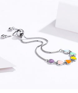Rainbow Color Enamel Heart Bracelet for Women Heart-shape 925 Sterling Silver Chain Anti-allergy Jewelry