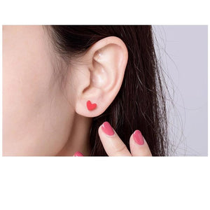 Stud Earrings Anti Allergic Red Stone Turquoise Ear Pin Women 925 Sterling Silver Female Jewelry