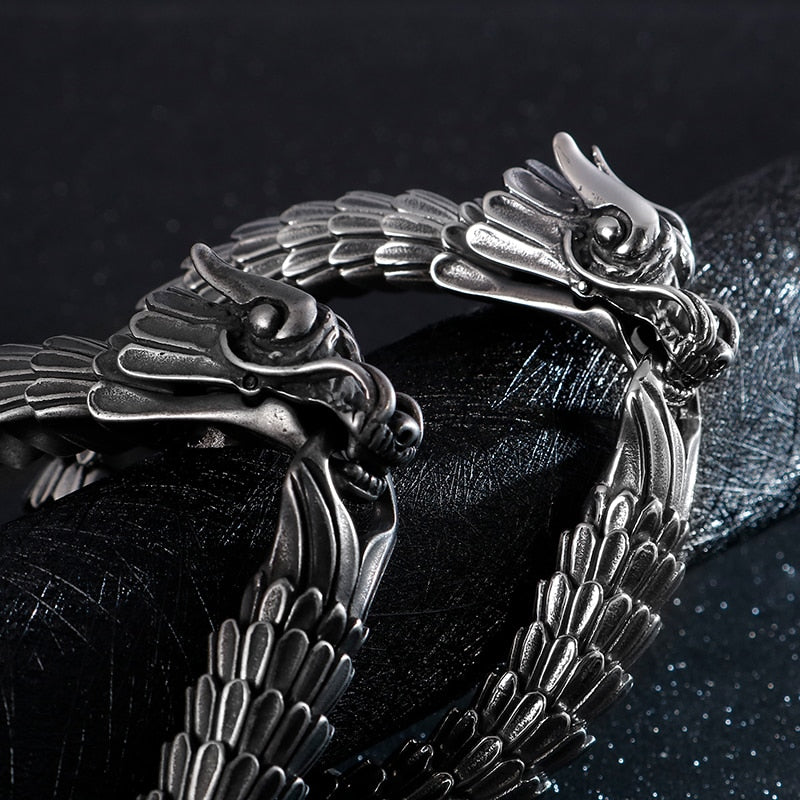 Punk Viking Dragon Bracelet - Stainless Steel