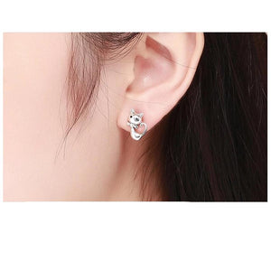 Cat Animal Small Stud Earrings For Women - 925 Sterling Silver