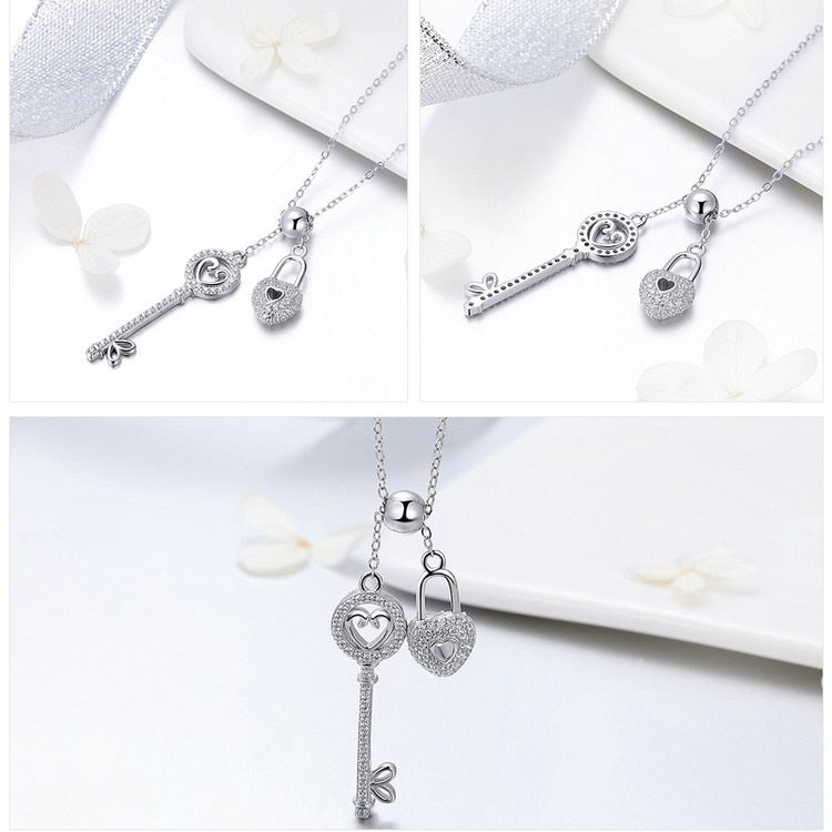 Romantic 925 Sterling Silver Key of Heart Lock Chain Pendant Necklace