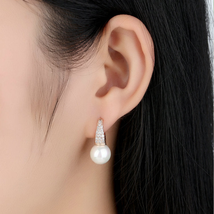 Rose Gold Earrings For Women With Simulated Pearls & Crystals