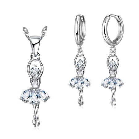 Cute Ballet Dancer Necklace And Earrings