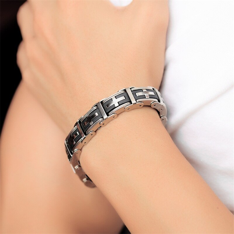 Magnetic Black Bracelet With Cross - Stainless Steel - GiftWorldStyle - Luxury Jewelry and Accessories