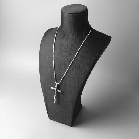 Men's CZ Skull Sterling Silver Cross Pendant Necklace