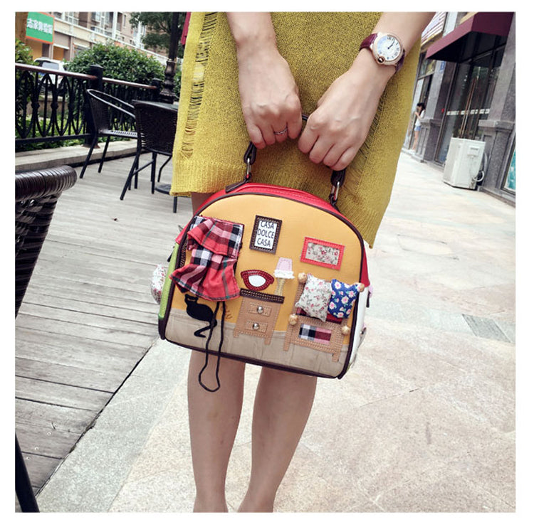 Women's Handmade Shoulder Bag Cartoon Bedroom,Home