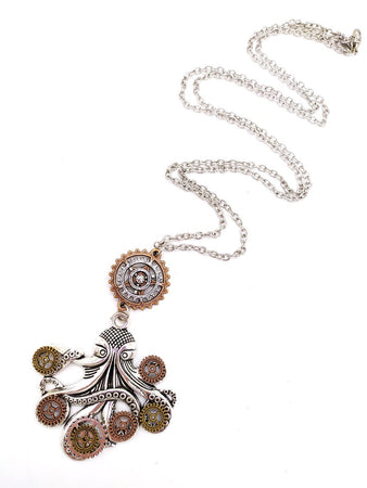 Women`s Steampunk Necklace With Octopus Gears Claws Pendant