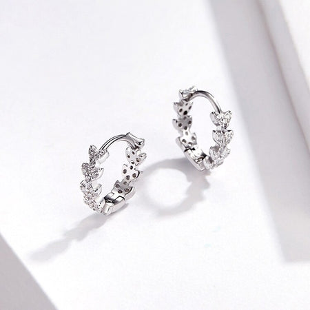 Leaf Dazzling Hoop Earrings - 925 Sterling Silver - GiftWorldStyle - Luxury Jewelry and Accessories