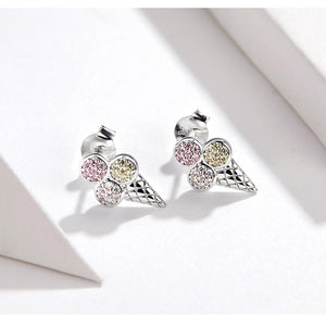 Summer Ice Cream Ball Stud Earrings for Women Colorful CZ Sterling Silver 925 Jewelry Bijoux
