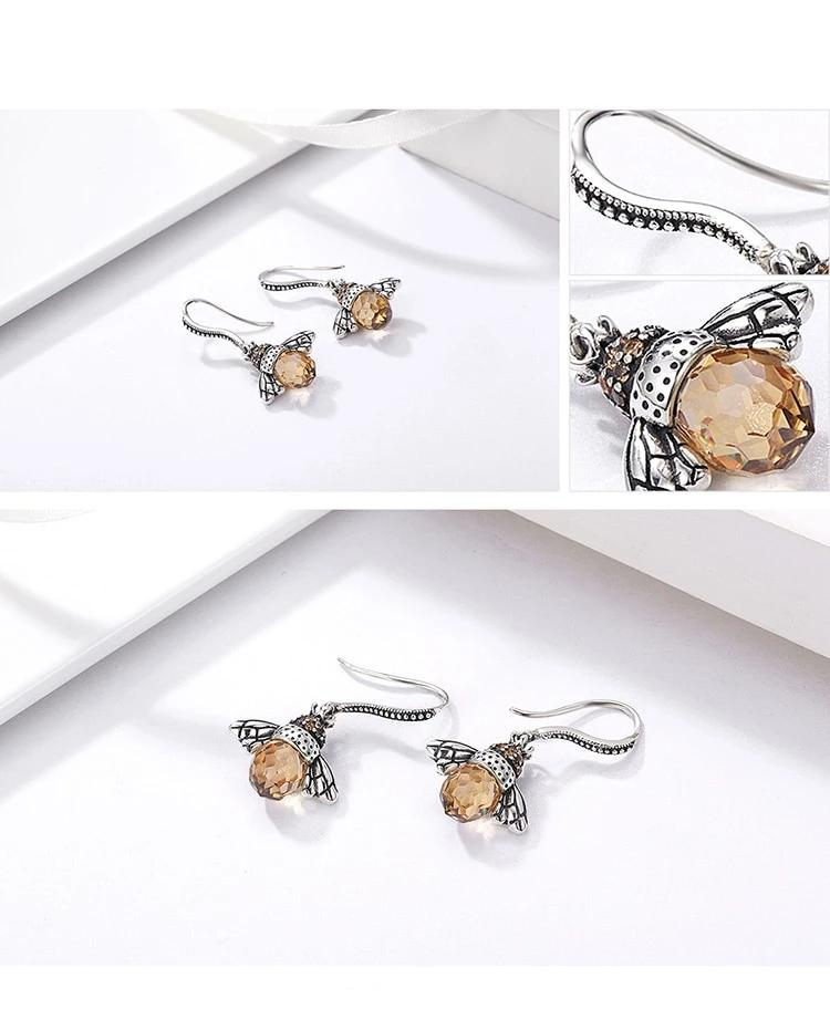 Lovely Orange Bee Animal Drop Earrings - 925 Sterling Silver