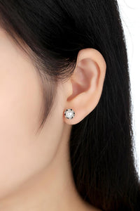Elegance Stud Earrings With White Water Pearl  - 925 Sterling Silver