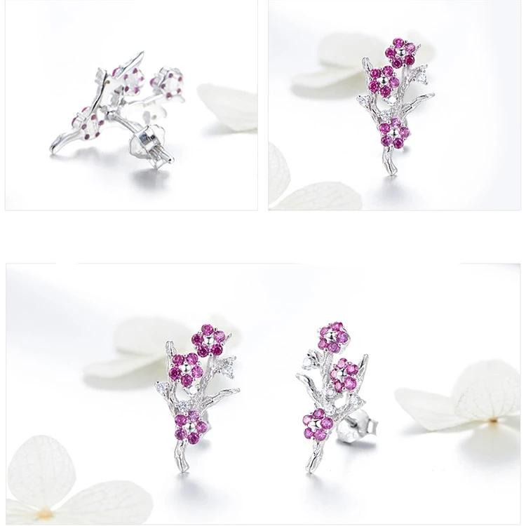 Collection 925 Sterling Silver Blooming Plum Flower Stud Earrings Women Silver Jewelry