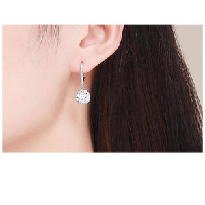Authentic 925 Sterling Silver Dazzling Cubic Zircon Square Geometric Drop Earrings Women Wedding Jewelry