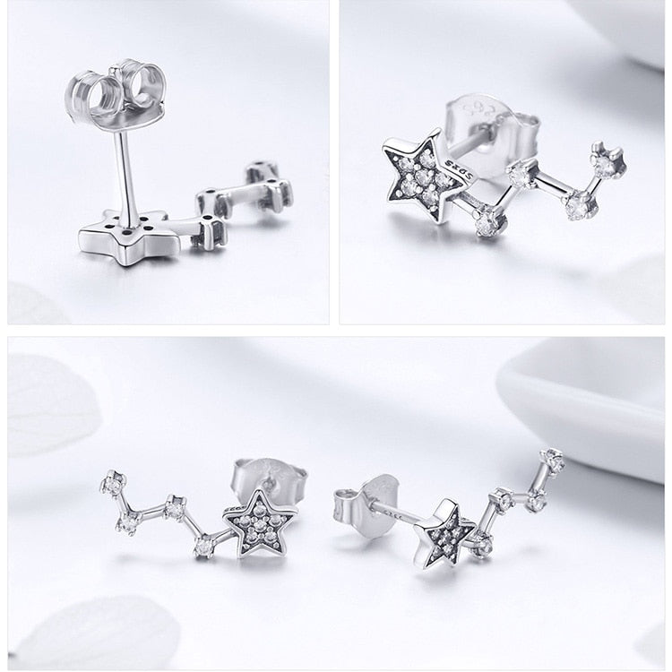 Real 925 Sterling Silver Elegant Sparkling Star Crystal CZ Small Stud Earrings Women Jewelry