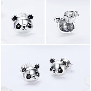 Genuine 100% 925 Sterling Silver Animal Collection Cute Panda Stud Earrings Women Sterling Jewelry
