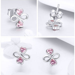Infinite Love Pink Heart Clover Stud Earrings - 925 Sterling Silver