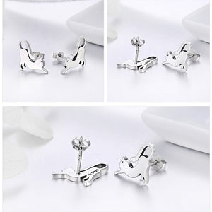 Genuine 100% 925 Sterling Silver Cute Cat Pussy Tail Small Stud Earrings Women Jewelry