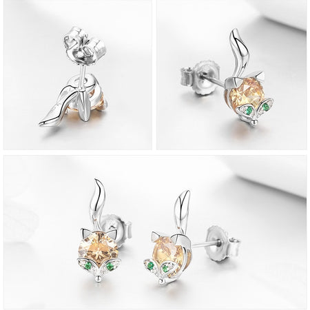 Fox Animal Stud Earrings - 925 Sterling Silver, Crystals - GiftWorldStyle - Luxury Jewelry and Accessories