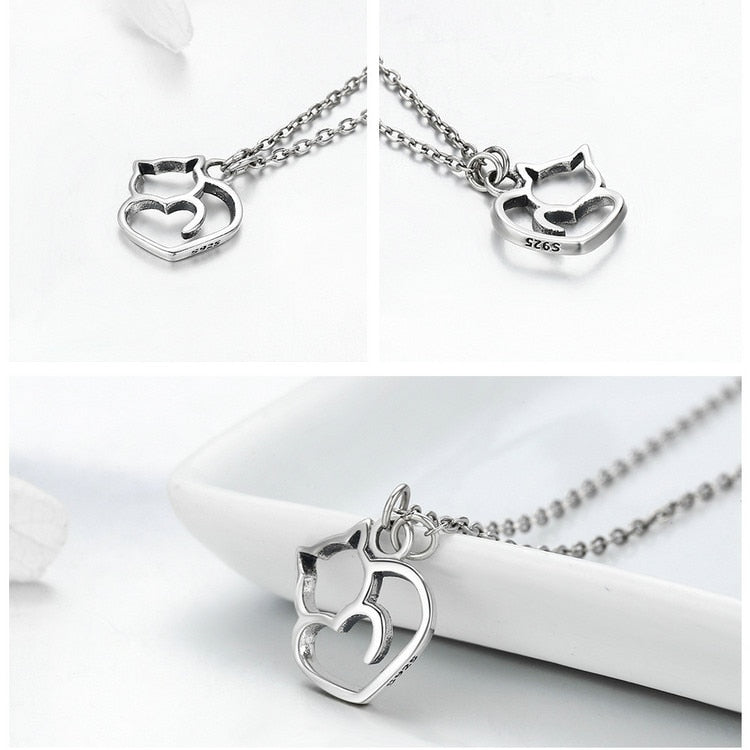 925 Sterling Silver Lovely Cat Pendant Necklace -Sterling Silver