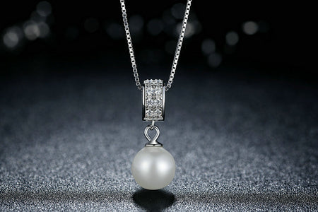 Pearl Pendant Necklace With Long Chain - 925 Sterling Silver