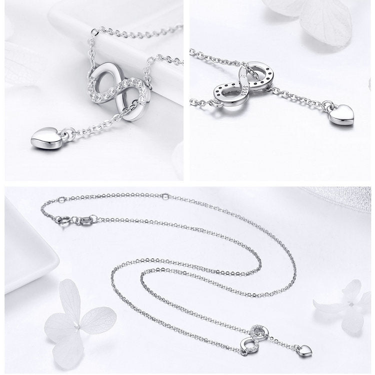 Infinity Forever Love Pendant Necklace - 925 Sterling Silver
