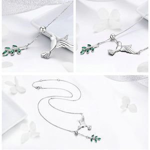 Authentic 925 Sterling Silver Spring Bird & Tree Leaf Leaves Dangle Pendant Necklace Women Silver Jewelry