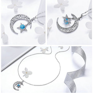 Romantic 925 Sterling Silver Sparkling Moon And Star Necklaces Pendants Women Jewelry