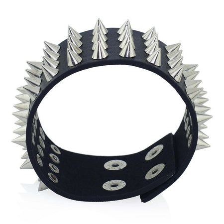 Row Cuspidal Spikes Rivet Leather Bracelet