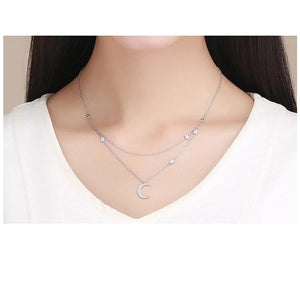 Genuine 925 Sterling Silver Moon Star Double Layers Chain Pendants Necklaces Women Jewelry