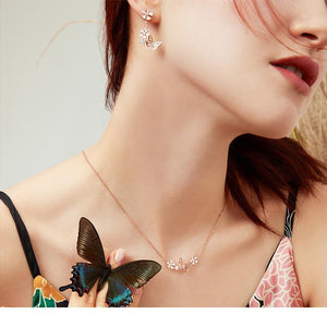 Butterfly and Flower Necklace 925 Sterling Silver - Enamel Floral