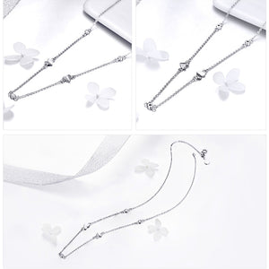 Silver Necklace Chain Floding Heart Link 925 Sterling Silver Choker Necklaces Women Short Colliers 45mm
