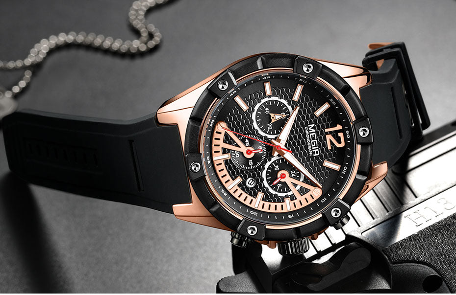 Chronograph Quartz Wrist Watches - Stopwatch, Waterproof - GiftWorldStyle - Luxury Jewelry and Accessories