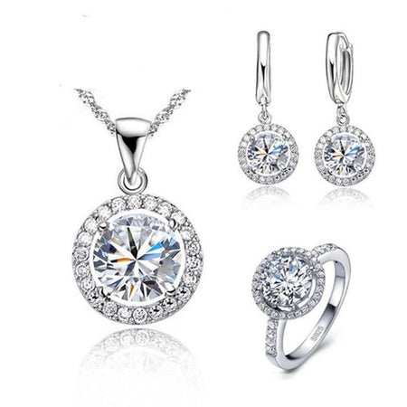 Zircon Crystal Jewelry Set - 925 Sterling Silver - GiftWorldStyle - Luxury Jewelry and Accessories