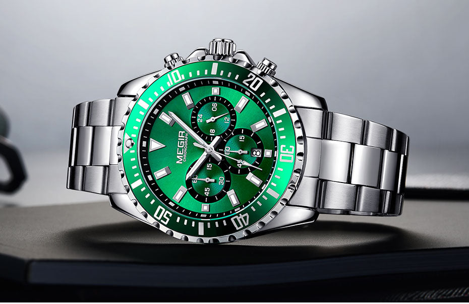 Men's Chronograph Quartz Watch With Complete Calendar, Luminous Hands - GiftWorldStyle - Luxury Jewelry and Accessories