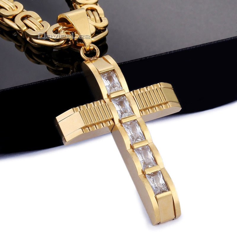 Men's Byzantine Chain CZ Cross Pendant Necklace - GiftWorldStyle - Luxury Jewelry and Accessories