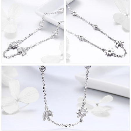 Sparkling Moon and Star Exquisite Pendant Necklace - 925 Sterling Silver