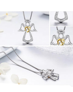 Authentic 925 Sterling Silver Guardian Angel Heart Pendant Necklaces Dazzling CZ Jewelry