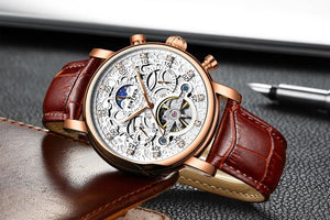 Skeleton Automatic Watch Men Sun Moon Phase Waterproof Men Tourbillon Mechanical Watches Wristwatches